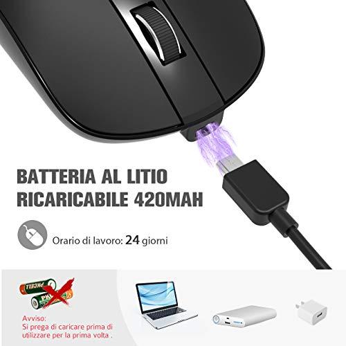 Mouse Wireless Ricaricabile USB, VicTsing Mouse senza Fili Clic Silenzioso - DPI Regolabile - Adattatore USB C Incluso, Ultrasottile Portatile per Viaggi, Casa, Ufficio (Nero)