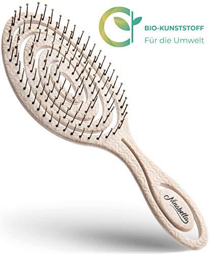 Ninabella®️ Bio Haarbürste ohne Ziepen, Profi Entwirrungsbürste, Einzigartige Detangler-Bürste mit Spiralfeder, Anti-Ziep-Haarbruch-Knoten-Spliss-Bürste