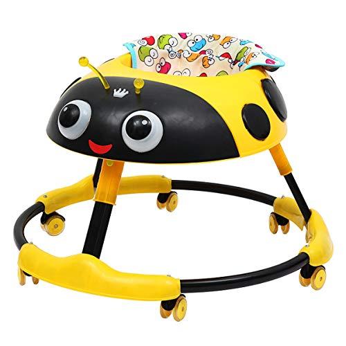 Baby-Lauflernhilfen Mit Rädern, Höhenverstellbare Lauflernhilfen Für Jungen Mädchen Mit Leicht Reinigender Ablage Universalrädern, Umklappbare Lauflernhilfen Kleinkinder Von 6 Bis 18 Monaten,Yellow