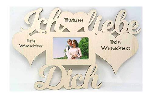 Ich liebe dich Geschenke mit Namen und Texte Gravur Wand Foto Bilderrahmen 3 Herzen Partner 10x15 cm Ehepaar Paar Pärchen für Freund Frauen Freundin Frau Ehefrau Ehemann individuell personalisiert