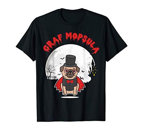 Halloween Hund Graf Mopsula Mops Halloween Kostüm T-Shirt (Graf Dracula Kostüm Hunde)