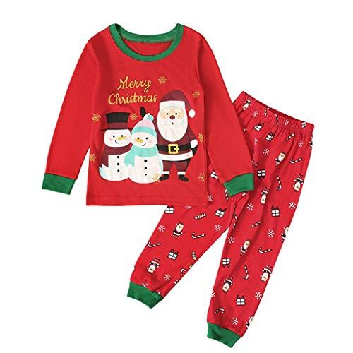 wuayi Unisex Kinder Schlafanzüge Weihnachtskostüm Baby Mädchen Jungen Weihnachtsmann Schlafanzugoberteile + Schlafanzughosen Bademäntel Kinderkleidung Babykleidung