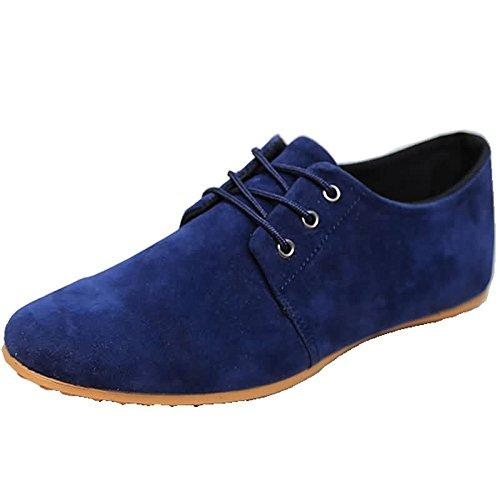 Sunny&Baby Los Hombres Estilo Informal de conducción mocasín Aprovechar los Zapatos de Moda Cuero Superior con Mocasines Barco Antideslizante (Color : Azul, tamaño : 40 EU)
