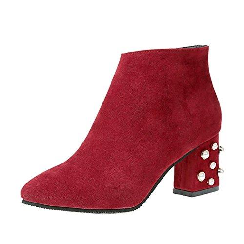 Upxiang Damen High Heel Schuhe Pearl Dekoration Square Heel High-Heel Klassische Zip Basic Stiefel Spitz Toe Stiefeletten (37, Rot)