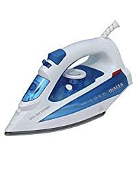Inalsa Aral 1600-Watt Steam Iron with Ceramic Coated Sole Plate and Self Cleaning (White/Blue)