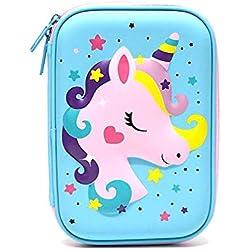 GEMSeven Unicornio Lindo Estuche De Lápices Útiles Escolares Papelería Estuche Lápices Bolso De Dibujos Animados Con Lápiz Titular