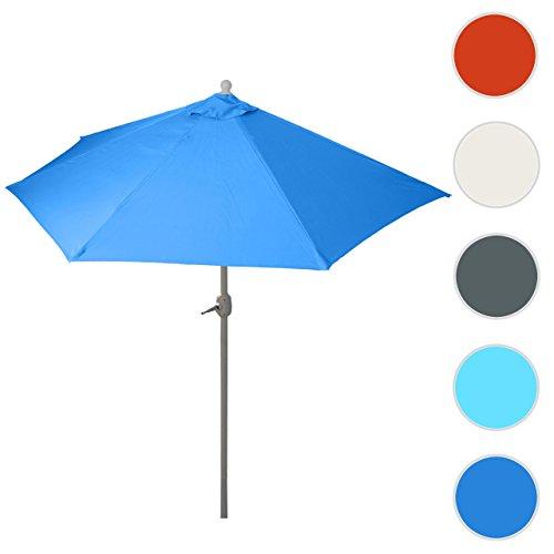 Alu-Sonnenschirm halbrund Parla, Halbschirm Balkonschirm, UV 50 ~ 270cm blau ohne Ständer