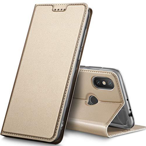Geemai Funda Xiaomi MI MAX 3, Slim Case Protectora PU Funda Multi-ángulo a Prueba de Golpes y Polvo a Prueba de Silicona con Soporte Plegable para Xiaomi MI MAX 3.(Oro)