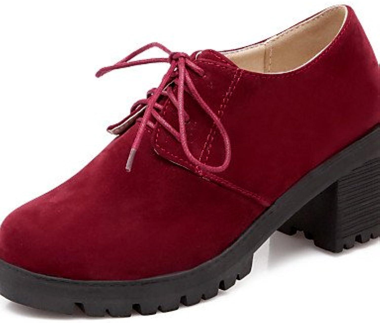 ZQ Zapatos de mujer - Tacón Robusto - Punta Redonda - Oxfords - Vestido - Ante Sintético - Negro / Beige / Bermellón...