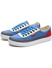 WENJHEN Hombres Zapatos de Casual Fashion Ante Zapatillas, Azul (Azul), 44