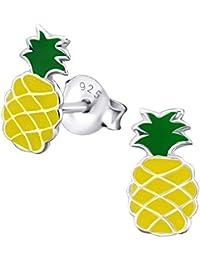 Laimons Pendientes para niña Piña Amarillo, Verde Plata de ley 925