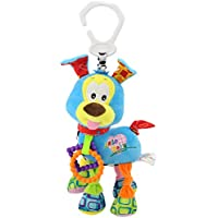 Yeahibaby Baby Infant Rattle Animal Multifunction Appease Cochecito de muñeca Hanging Bell Carseat Cama cuna Juguete para niños con mordedores Anillo de traqueteo Plush Dog (Azul)