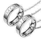 CNNIK 2Pcs Edelstahl Paar Halskette, klassische einfache Ring Anhänger Halskette graviert
