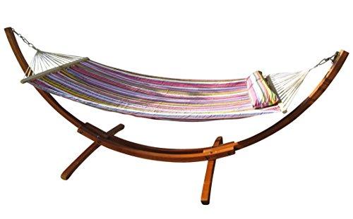 320cm Hängemattengestell XL LIMITED EDITION aus Holz Lärche mit Stab Hängematte gefüttert und Polster Schrauben aus Edelstahl von AS-S
