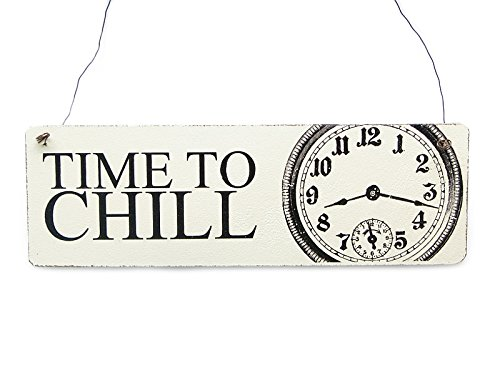 Interluxe Shabby Vintage Schild Dekoschild Türschild TIME TO CHILL Cottage Impression