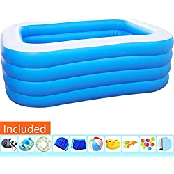 LIL Piscine Rectangulaire Piscine Hors Sol Bain Gonflable Piscine Gonflable Familiale Bleue Rectangulaire Piscine 4 Boudins Fond Gonflable Pliable Et Durable,182×140×80cm/5.97×4.59×2.62ft