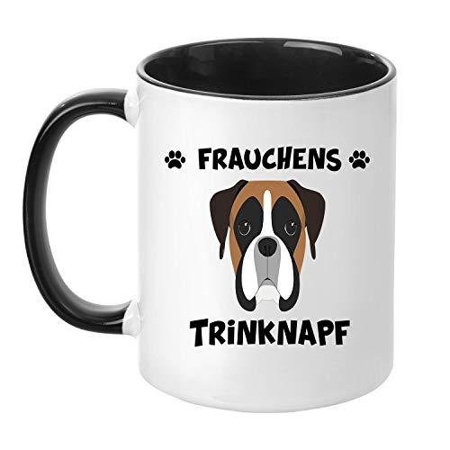 TassenTicker® - ''Frauchens Boxer Trinknapf'' - Kaffeetasse - Hunde-Tasse - Hundebesitzerin - Frauchen - Geschenkidee - Schwarz
