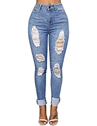 BaZhaHei Denim Jeans Ripped Pants Slim Stretch Skinny Trousers Hüfthose  Damenjeans Hüftjeans Röhrenjeans Röhrenhose Röhre Jogginghose 2b41efb3d1