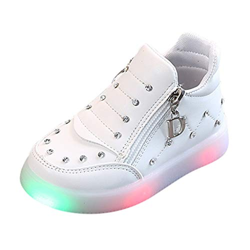 HDUFGJ LED Schuhe Kinder Strass Beleuchtete Freizeitschuhe Mädchen Kinder Schuhe Nette Baby Mädchen Stiefel Plus Samt Leichtgewicht Laufschuhe Faule Schuhe Turnschuhe Fitnessschuhe 22.5 EU(Weiß)
