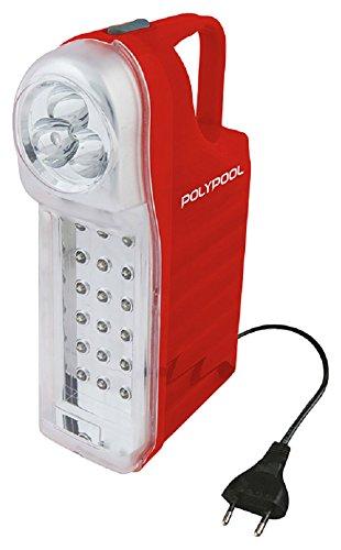 poly pool pp0765 lampada di emergenza portatile ricaricabile 21 led con 1 m di cavo e spina 10