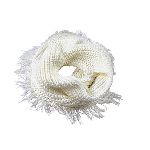 DAMILY Einfarbig Winter Stricken Schals Wild Neck Ring Schal Plain Infinity Schal Shawl (Weiß)