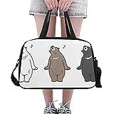 Qdosk Tanzbär Spaß glücklich Tier benutzerdefinierte große Yoga Gym Totes Fitness Handtaschen Reise Seesäcke mit Schultergurt Schuhbeutel für die Übung Sport Gepäck für Mädchen Mens Womens Outdoor