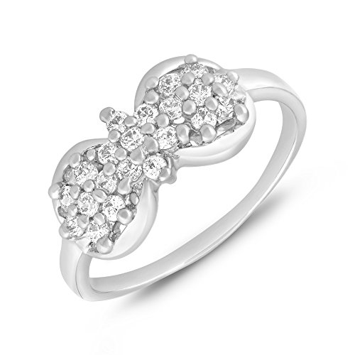 Valentine Gifts - Mahi Rhodium plated Bow Finger Ring with CZ for Women FR1100651R