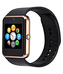 LG L Bello D335 Compatible Certified Bluetooth Smart Watch GT08 Wrist Watch Phone with Camera & SIM Card Support Hot Fashion New Arrival Best Selling Premium Quality Lowest Price with Apps like Facebook, Whatsapp, QQ, WeChat, Twitter, Time Schedule, Read Message or News, Sports, Health, Pedometer, Sedentary Remind & Sleep Monitoring, Better Display, Loud Speaker, Microphone, Touch Screen, Multi-Language, Compatible with Android iOS Mobile Tablet PC iPhone-golden BY MOBIMINT