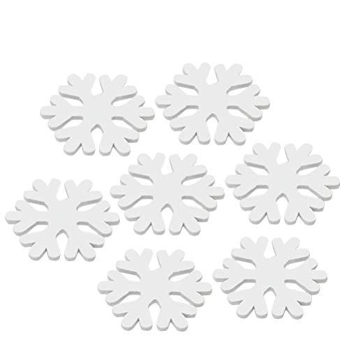 BESTOYARD Fiocchi di Neve in Legno Decorazioni Natale Natalizie Legno Natale Etichette Regalo Decorazioni Natale Appendere 100 Pezzi (Bianco)