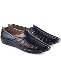 Aveero Men's Synthetic Casual Shoes Shoes Mens Leather Look Men Black Casual Loafers Shoes 34 Shoes For Mens &...