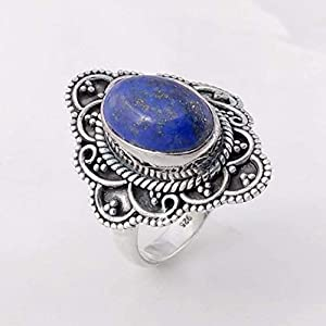 Natural Lapis Lazuli Solid 925 Sterling Silver Ring Jewelry