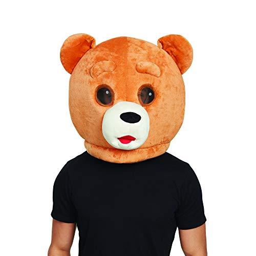Bristol Novelty BM559 Teddybär Maskottchen Maske, Braun, Unisex- Erwachsene, - Teddybär Maskottchen Kostüm