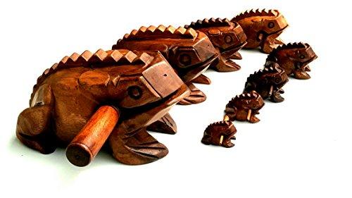 "Wooden Croaking Frog Güiro - Fair Trade Percussion Instrument - Small Medium Large Jumbo - Frog Guiro (4.75"" - 12cm)"