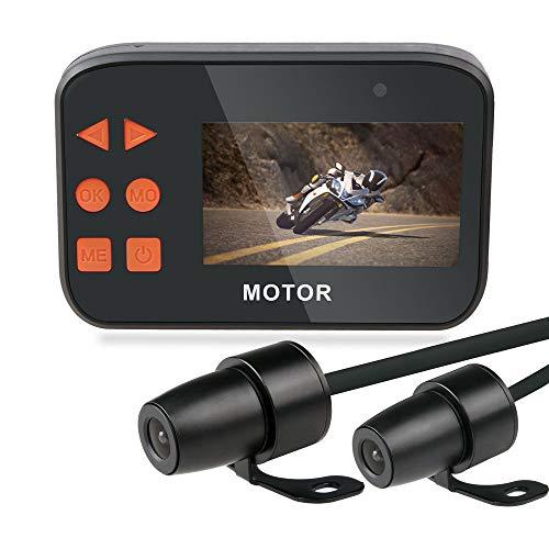 Moto Dash Cam, Anteriore/Posteriore Full HD 1080P Lente Impermeabile da 2,7'Schermo LCD 130 ° Wide Angle con Supporto per Visione Notturna, sensore G, Registrazione ciclica, WDR