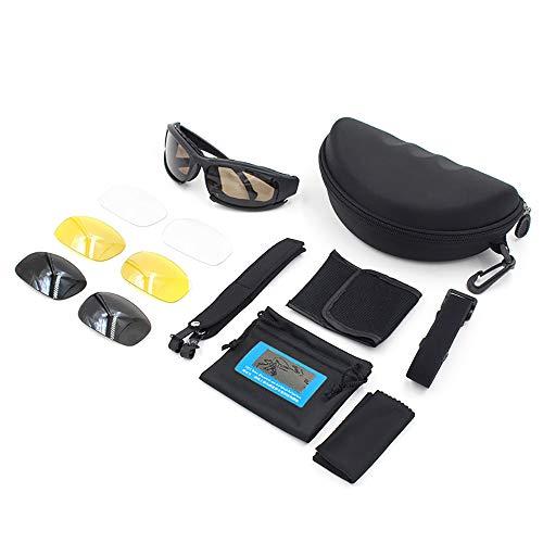 GBY Snowboard-Motorradbrille und -Brille auch für Radfahren, Angeln, Jagd, Militär Sport Schutzbrille, Polykarbonat, Schwarz, Einheitsgröße