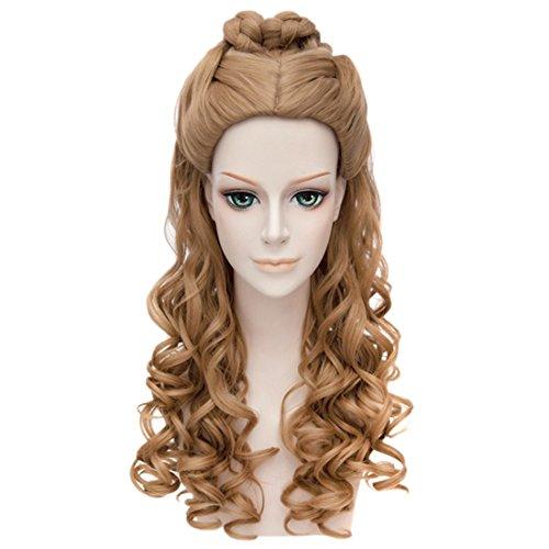 QITUN.Z Frauen Cosplay Cinderella Anime Lockige Wellenförmige Lange Volle Haare Braun (Cinderella Haar)