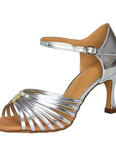 La mode moderne Sandales femmes personnalisables Chaussures de danse latine similicuir/Salsa/talons sandales talon Performances sur mesure pour l'intérieur et l'argent US7.5/EU38/UK5.5/CN38