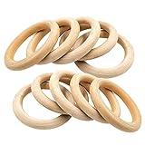 Anillos de madera,25 unidades de anillos de madera natural para manualidades,bricolaje,joyería,manualidades,proyectos de artesanía,70 mm,anillos redondos de madera para dentición,joyería