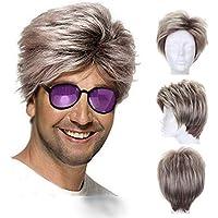 Parrucche Uomo Capelli Veri Parrucca Uomo Corti Lisci Moda Sintetica  Parrucche Corte Per Gli Uomini Man 2f1c3bab4381