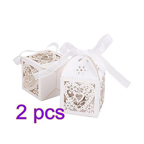 Cut Perle Papier Party Hochzeit Gunsten Ribbon Candy Boxen Geschenk Box Weiß (Braut und Bräutigam) ()