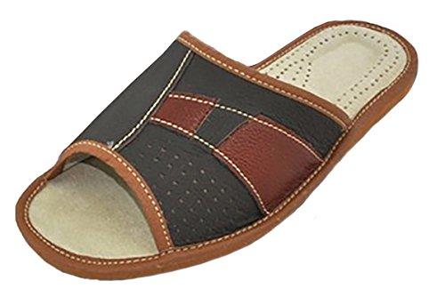 Pantoufles Chaussons | Cuir Véritable |Homme | 413 Brun