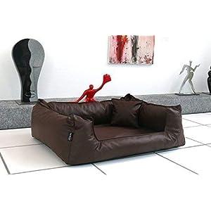 tierlando® G3-L-01 Orthopädisches Hundebett Goofy VISCO Anti-Haar Kunstleder Hundesofa Hundekorb Gr. M 90cm Braun Ortho