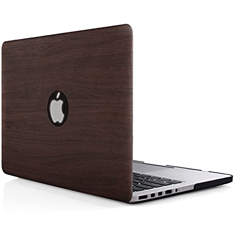 iDOO MacBook Schutzhülle / Hard Case Cover Laptop Hülle [Für MacBook Pro 13 Zoll mit Retina Display - ohne CD-Laufwerk: A1425/A1502] - matt, dunkles Holz-Muster