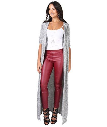 KRISP 7246-GRY-M: Long Cardigan Hoodie Sweater Pullover (Grau, Gr.M)
