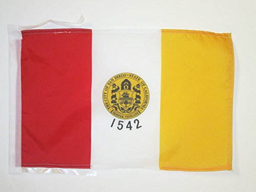 FLAGGE SAN DIEGO 45x30cm mit kordel - SAN DIEGO FAHNE 30 x 45 cm - flaggen AZ FLAG Top Qualität (San Diego Stoff)