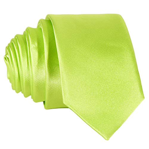 Bunte Krawatte (DonDon Schmale hellgrün glänzende handgefertigte Krawatte 5 cm neon-grün)
