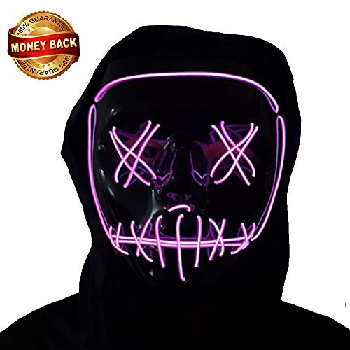 Niedliche Gruppen Mädchen Kostüm - VAQM Halloween-Maske, LED-Masken, leuchtet gruselig, für Cosplay-Maske, für Festivals, Musik, Partys, Kostüm, Weihnachten Large Led Mask for Purple 1