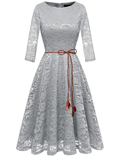 (bridesmay Damen elegant 3/4 Ärmel Prinzessin Spitzenkleid Brautjungfernkleid Cocktailkleider Grey 3XL)