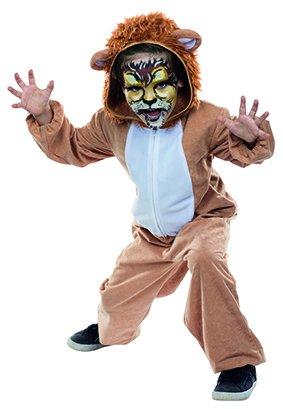 Kinder Kostüm Löwe Teo Größe 116, Overall braun Fasching Karneval Theater Raubtier Katze (116) (Löwe Kind Kostüm)