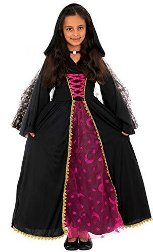 Halloween Einhorn Kostüm - Magicoo Mondkönigin Hexenkostüm Kinder Mädchen schwarz-pink inkl. Kleid mit Kapuze & Halskette - Gr 110 bis 140 - Halloween Vampir-Kostüm Kinder (110/116)
